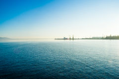 A landscape of the harbor in the city of Burgas in Bularia Stock Images
