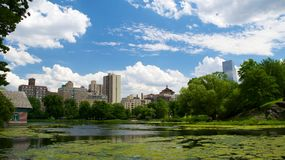 Landscape at Harlem Meer in North Central Park, Manhattan Royalty Free Stock Image