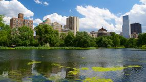 Landscape at Harlem Meer in North Central Park, Manhattan Royalty Free Stock Images