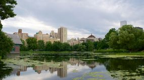 Landscape at Harlem Meer in North Central Park, Manhattan Royalty Free Stock Photo