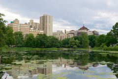 Landscape at Harlem Meer in North Central Park, Manhattan Stock Photography