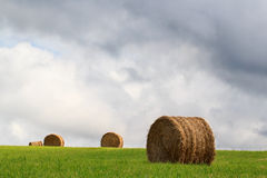 Landscape of hay bales in a green field. Landscape of hay bales lying randomly in a green field with a stormy sky stock image