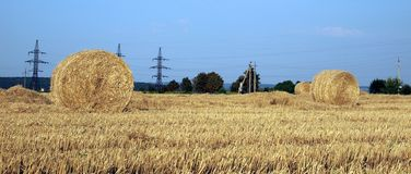 Landscape with hay roll Royalty Free Stock Images