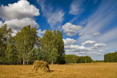 Landscape with hay stack royalty free stock photos