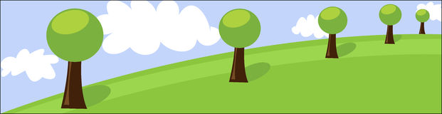 Landscape header with trees and clouds Royalty Free Stock Photo