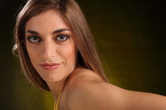 Landscape headshot of beautiful young woman Royalty Free Stock Photography