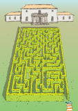 Landscape Hedge Maze Game. For children. Hand drawn illustration in eps10  mode. Task: find the way to palace! Answer is in hidden layer in eps file Stock Photo