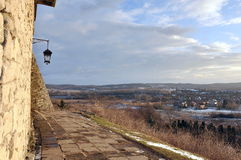 Landscape from a height, fragment of castle wall Stock Photography