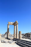 Landscape of Hellenistic stoa. At Lindos Acropolis, Rhodes, Greece Royalty Free Stock Images