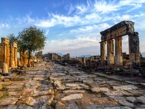 Landscape of Hierapolis. Pamukkale, Turkey. Royalty Free Stock Images