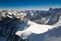 Landscape of high alps mountains in the Mont Blanc massif Stock Images