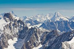 Landscape of high alps mountains in the Mont Blanc massif Royalty Free Stock Photo
