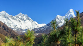 Landscape with high mountains in Himalaya. On a bright sunny day stock photography