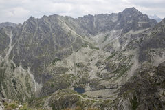 View from Koscielec to the Czarny Staw in the Tatra-Mountains. Landscape of high mountains in the Tatra-Mountains. Beautiful view from Koscielec-Peak, 2155, to stock images
