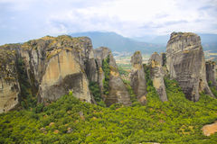 Landscape of high and strong rocks in mountain Meteora Royalty Free Stock Photo