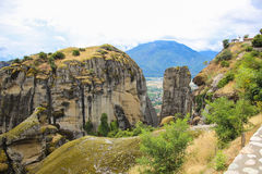 High and strong rocks in mountain Meteora in Greece Royalty Free Stock Image
