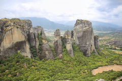 Landscape of strong rocks in mountain Meteora in Greece Royalty Free Stock Images