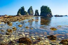 Landscape of the high tides of the minokake-rocks at izu. Tombolo phenomenon of minokake rocks at izu royalty free stock images