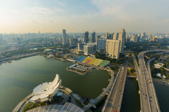 Landscape high view harbor front in singapore Royalty Free Stock Image