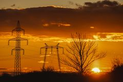 Landscape with high-voltage Stock Photos
