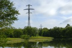 Landscape, with a high-voltage line. Stock Images