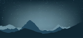 Landscape of the highlands. The night sky and the mountains. Vec. Tor illustration Royalty Free Stock Photography
