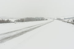 Landscape with highway and snow-drift Royalty Free Stock Photo