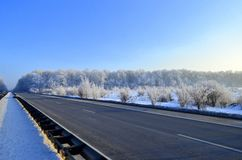 Landscape - highway in winter Stock Images