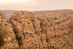 Challenging landscape near Wadi Dana, towards Al-Qadisiya, Jordan stock images