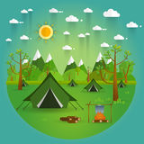 Landscape.Hiking and camping. Vector flat illustration Royalty Free Stock Photo