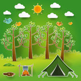 Landscape.Hiking and camping. Vector  illustration Royalty Free Stock Photos