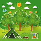 Landscape.Hiking and camping. Vector  illustration Royalty Free Stock Photography