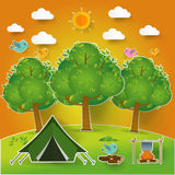 Landscape.Hiking and camping. Vector  illustration Stock Image