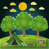 Landscape.Hiking and camping. Vector  illustration Stock Photo