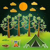 Landscape.Hiking and camping. Vector  illustration Royalty Free Stock Photo