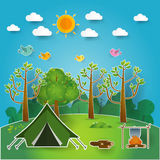 Landscape.Hiking and camping. Vector  illustration Royalty Free Stock Image