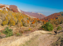 Landscape with hiking track in mountain pasture Demerdzhi, Crimean peninsula Stock Images