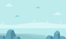 Landscape hill with fog for game backgrounds. Vector Stock Photography