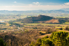Landscape with the hill of Gradara, near Pesaro Royalty Free Stock Image