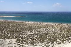 Landscape from the hill near Puerto Madryn, a city in Chubut Province, Patagonia, Argentina. Landscape from the hill on the beach after Punta Loma near Puerto royalty free stock photography