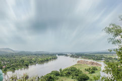 Landscape from Hill Beside River, Moving Cloud, Trees Stock Image