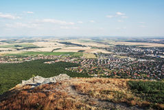 Landscape from the hill Zobor above the Nitra, Slovak republic. Rural landscape from the hill Zobor above the Nitra city, Slovak republic. Seasonal natural scene stock image