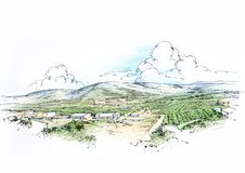 Landscape with hills. Architectural drawing color Royalty Free Stock Image