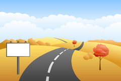 Landscape hills autumn day road billboard illustration Royalty Free Stock Images
