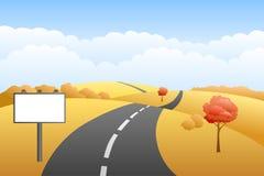 Landscape hills autumn day road billboard illustration Royalty Free Stock Images