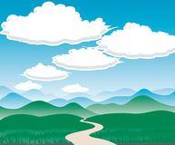 Landscape with Hills and clouds Stock Photography