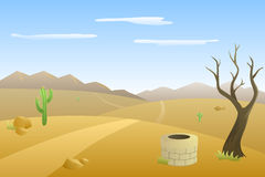 Landscape hills desert day road mountains illustration Stock Image