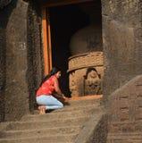 Elephanta cave in Mumbai India. stock photo