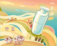 Landscape with milk bottle. Landscape of hills with grazing cows and milk bottle Royalty Free Stock Image