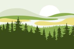 Landscape with hills, mountains, lakes, rivers and the sun in the background. Firs in the foreground. Yellow, green and beige colo. Rs. Flat style. Vector vector illustration